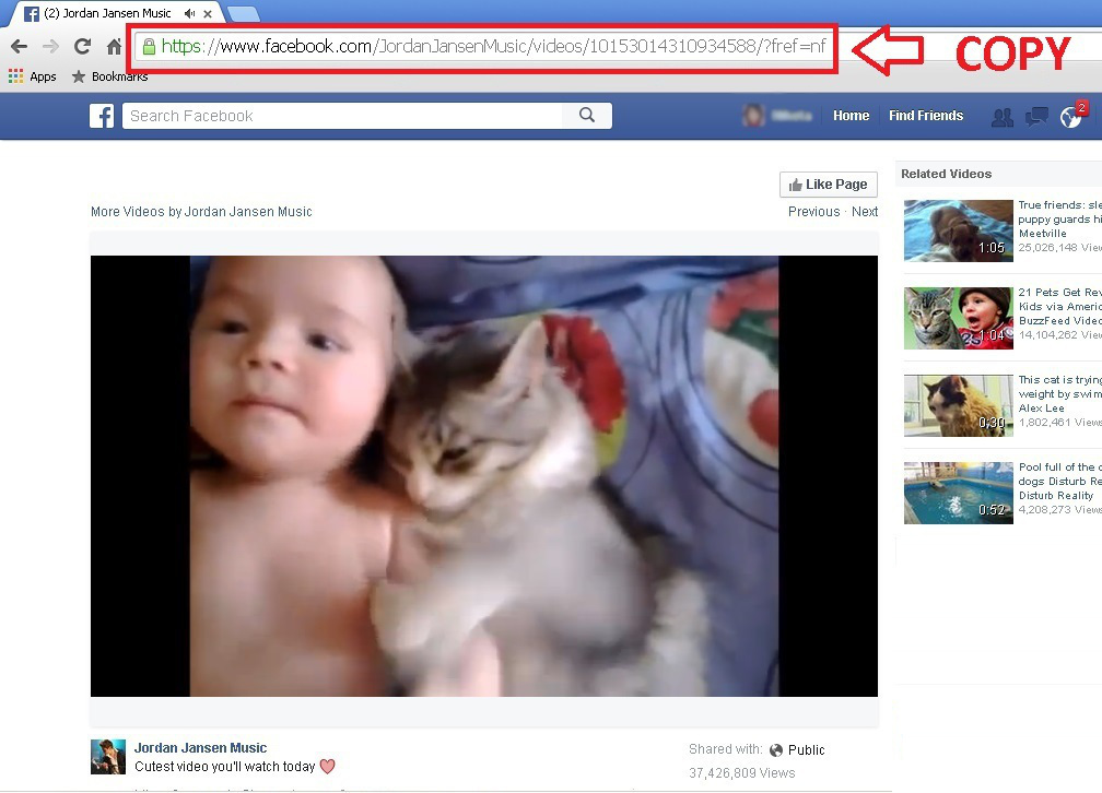 Copy link of facebook videos from video page